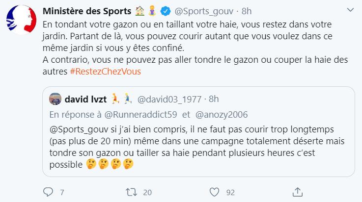 Réponse du Ministère des Sports