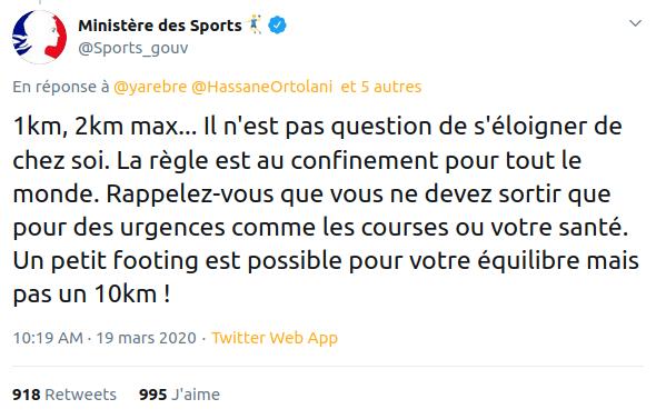 Tweet du Ministère des Sports